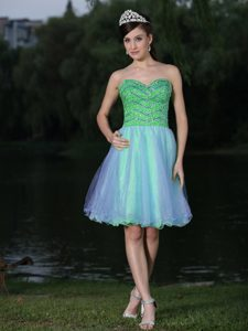 Wholesale Sweetheart Beaded Organza Prom Attire in Green to Mini-length
