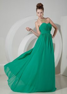 Custom Made Turquoise Empire Chiffon Prom Gown Dress with Sweetheart
