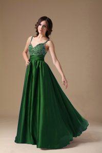 Discount Dark Green Spaghetti Straps Prom Dresses with Beading in Taffeta