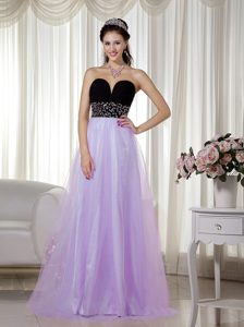 Lavender and Black Sweetheart and Tulle Prom Dress for Slim Girls