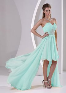 High-low Sweetheart Beaded Apple Green Chiffon Prom Dress for Summer