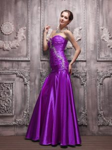 Purple Sweetheart Prom Dress for Tall Girl with Beading and Ruche