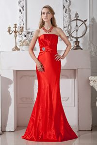 Fitted Red Strapless Prom Gown with Ruche and Beading in Taffeta