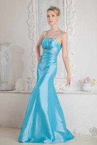 Aqua Blue Mermaid Straps Satin Prom Gown with Beading and Brush Train