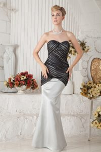 Nice Black and Ivory Mermaid Sweetheart Prom Dress with Ruche