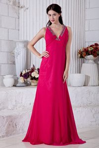 V-neck Brush Train Chiffon Ruched Charming Prom Party Dress in Hot Pink