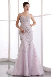 Romantic Pink Mermaid Beaded Prom Formal Dresses with Spaghetti Straps