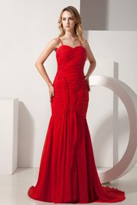 Beautiful Red Mermaid Spaghetti Prom Celebrity Dresses with Brush Train