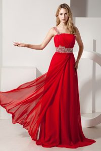 One Shoulder Ruched and Beaded Gorgeous Prom Holiday Dresses in Red