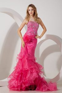 Memorable Hot Pink Mermaid Strapless Prom Evening Dresses with Ruffles