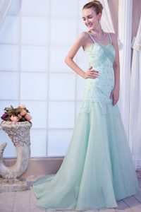 Attractive Spaghetti Prom Formal Dresses in Apple Green with Brush Train