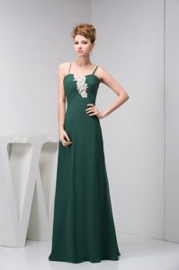 Magnificent Appliqued Dark Green Spaghetti Prom Pageant Dress for Summer
