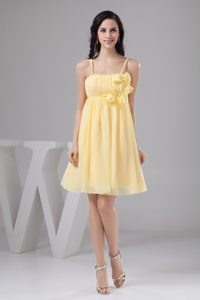 Light Yellow Ruched 2013 Beautiful Prom Evening Dress with Spaghetti Straps