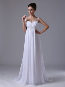 Ruched and Beaded Gorgeous Chiffon Wedding Reception Dress with Straps