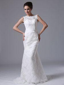 Memorable Scoop Mermaid Sweep Train Summer Dress for Brides under 250