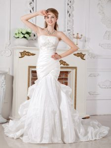 Dressy Mermaid Strapless Court Train Wedding Gown with Appliques