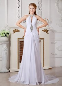 Wonderful Empire High-neck Court Train Chiffon Bridal Gown with Beading