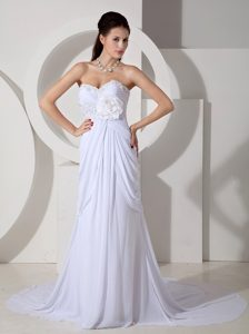 Elegant Sweetheart Court Train Chiffon Dresses for Wedding with Appliques