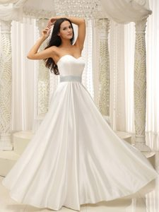 Sweetheart Discount Long Wedding Dresses in Elastic Woven Satin
