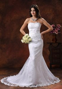 Mermaid Strapless Brush Train Wedding Gowns with Embroidery and Belt