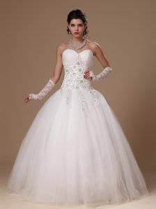 Sweetheart Tulle Lovely Wedding Gown Dresses with Beading and Appliques