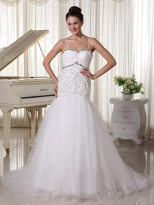 Spaghetti Straps Beaded A-line Cheap Wedding Dresses in and Tulle