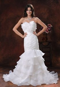 Mermaid Strapless Organza Wedding Dress for Cheap with Ruffled Layers