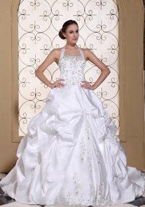 Halter Embroidery Ball Gown Satin Perfect Wedding Gown with Chapel Train