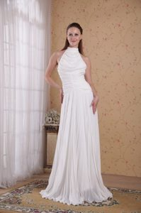 White Empire High-neck Long Low Price Wedding Dress for Summer