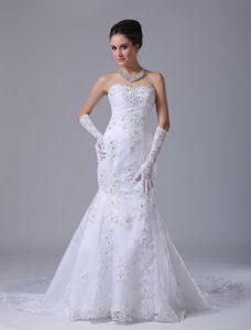 Sweetheart Mermaid Court Train Wedding Dress with Beading and Ruching