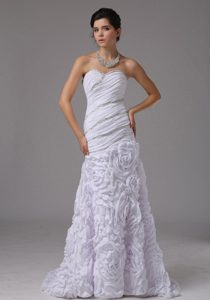 Elegant Mermaid Beaded and Ruched Dress for Wedding with Rolling Flower