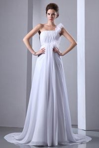 One Shoulder Court Train Chiffon Wedding Gown Dress with Ruching on Sale