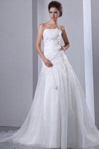 Cute Court Train Wedding Dress for Wholesale Price in and Organza
