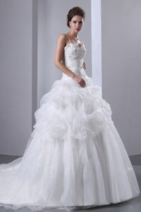 Custom Made A-line Spaghetti Straps Wedding Dresses with Chapel Train