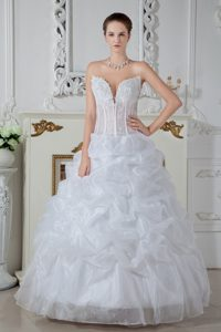 Perfect Ball Gown Sweetheart Organza Wedding Dresses with Embroidery