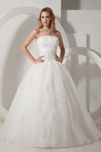 Strapless Long Low Price Dress for Wedding in and Organza