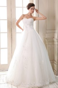 A-line Sweetheart Long Appliqued Lovely Wedding Dresses