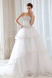 Strapless Court Train Low Price Wedding Dress with Beading and Appliques