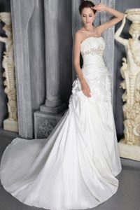 Strapless Wedding Dresses with Court Train on Promotion