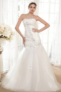 Strapless Chapel Train Wedding Dresses for Cheap in and Organza