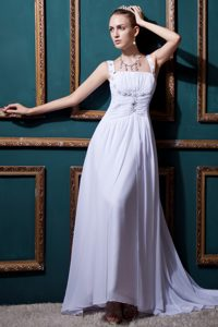Custom Made Empire Straps Chiffon Dresses for Wedding with Brush Train