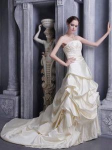 A-line Strapless Court Train Elegant Wedding Attire in Champagne