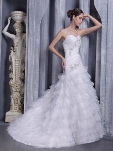 Nice Princess Sweetheart Court Train Wedding Gown Dress with Appliques
