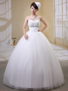 Sweetheart Beaded Tulle Beautiful Wedding Gown Dresses with Rhinestones
