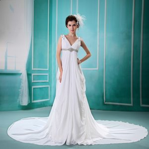 Cute V-neck Chapel Train Chiffon Wedding Dress with Beading and Ruching