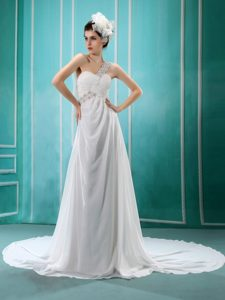 One Shoulder Chapel Train Sweet Wedding Gown Dresses with Appliques