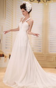 Lovely Straps V-neck Chapel Train Chiffon Wedding Dresses with Beading