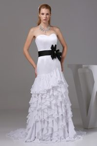Mermaid Sweetheart Wedding Gowns with Ruffled Layers and Sash on Sale