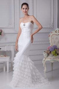 Perfect Sweetheart Mermaid Ruched Wedding Dresses with Ruffled Layers