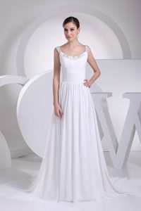 Scoop Beaded and Ruched Elegant Chiffon Wedding Dress with Court Train